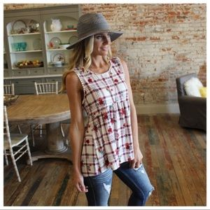 Ivory & Red Plaid Floral Babydoll Tunic
